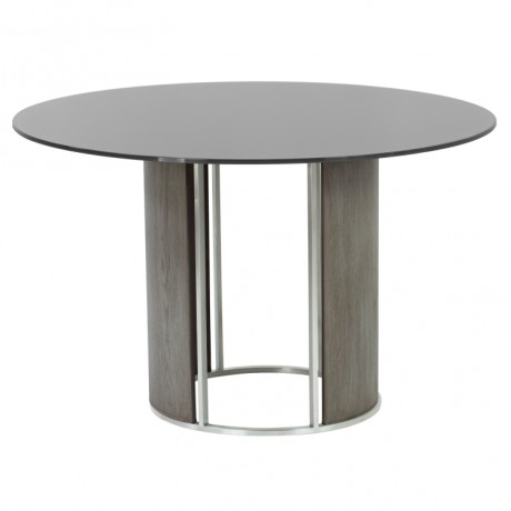 Delano Round Dining Table in Brushed Stainless Steel with Gray Tempered Glass Top and Gray Walnut Column