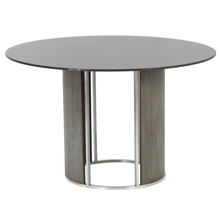 Armen Living Delano Round Dining Table In Brushed Stainless Steel With Gray  Tempered Glass Top And Gray ...