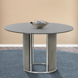 Armen Living Delano Round Dining Table in Brushed Stainless Steel with Gray Tempered Glass Top and Gray Walnut Column
