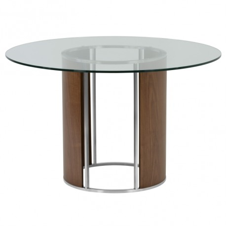 Delano Round Dining Table in Brushed Stainless Steel with Clear Tempered Glass Top and Walnut Column