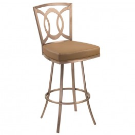 """Drake 30"""" Contemporary Swivel Barstool In Camel and Gold Finish"""