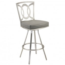 """Drake 30"""" Contemporary Swivel Barstool In Gray and Stainless Steel"""