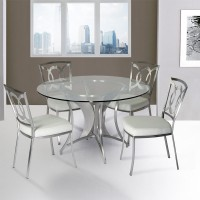 Drake Modern Dining Chair In White  and Stainless Steel - Set of 2