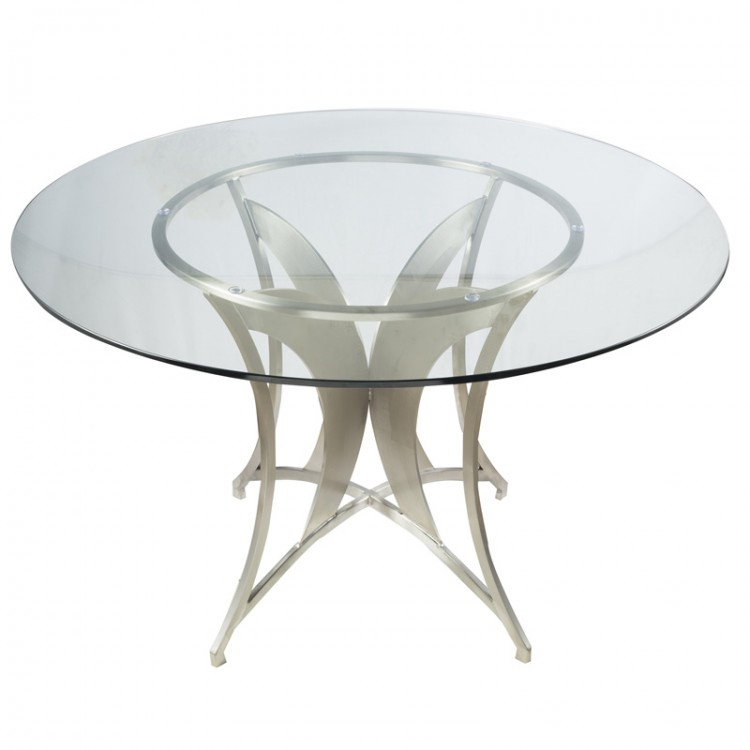 Drake modern dining table in stainless steel with clear for Tempered glass dining table