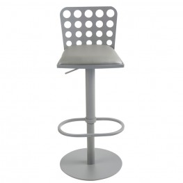 Dune Contemporary Barstool In Gray Metal and Gray