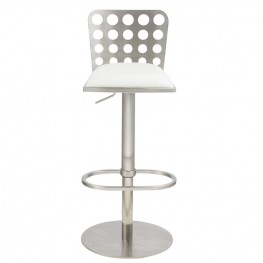 Dune Contemporary Barstool In White and Stainless Steel