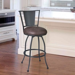 "Armen Living Dynasty 26"" Barstool in Mineral finish with Bandero Tobacco upholstery"