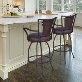 "Armen Living Dynasty 30"" Arm Barstool in Auburn Bay finish with Brown Pu upholstery"