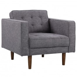 Element Mid-Century Modern Chair in Dark Gray Linen and Walnut Legs