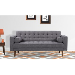 Armen Living Element Mid-Century Modern Loveseat in Dark Gray Linen and Walnut Legs