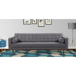 Armen Living Element Mid-Century Modern Sofa in Dark Gray Linen and Walnut Legs
