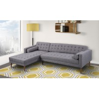 Armen Living Element Left-Side Chaise Sectional in Dark Gray Linen and Walnut Legs