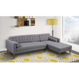 Element Right-Side Chaise Sectional in Dark Gray Linen and Walnut Legs