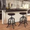 Elena Adjustable Barstool in Industrial Gray Finish with Brown Fabric seat