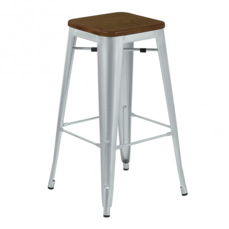 Backless Emery Industrial Barstool in Brushed Galvanized Steel Finish with Walnut Wood Seat