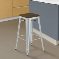 Armen Living Backless Emery Industrial Barstool in Brushed Galvanized Steel Finish with Walnut Wood Seat