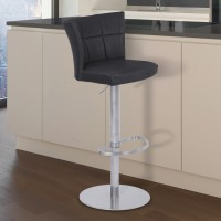 Armen Living Encore Adjustable Metal Barstool in Vintage Black Faux Leather with Brushed Stainless Steel Finish
