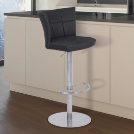 Encore Adjustable Metal Barstool in Vintage Black Faux Leather with Brushed Stainless Steel Finish