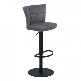 Armen Living Encore Adjustable Metal Barstool in Vintage Gray Faux Leather with Black Powder Coated Finish