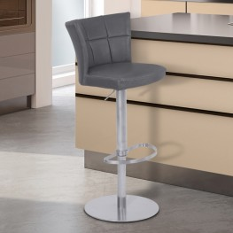 Encore Adjustable Metal Barstool in Vintage Gray Faux Leather with Brushed Stainless Steel Finish