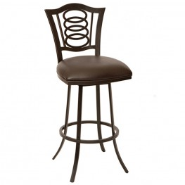 """Essex 26"""" Transitional Barstool In Coffee and Auburn Bay Metal"""