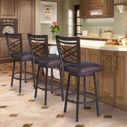 "Armen Living Fargo 26"" Barstool in Auburn Bay finish with Brown Pu upholstery"