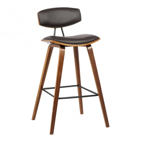 "Fox 26"" Mid-Century Counter Height Barstool in Brown Faux Leather with Walnut Wood"