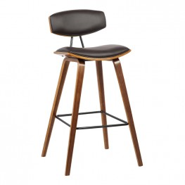 "Fox 30"" Mid-Century Barstool in Brown Faux Leather with Walnut Wood"