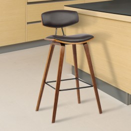 "Armen Living Fox 30"" Mid-Century Barstool in Brown Faux Leather with Walnut Wood"
