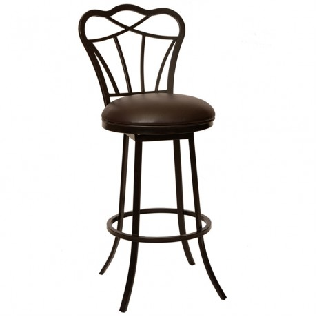 """Galvin 26"""" Transitional Barstool In Coffee and Auburn Bay Metal"""