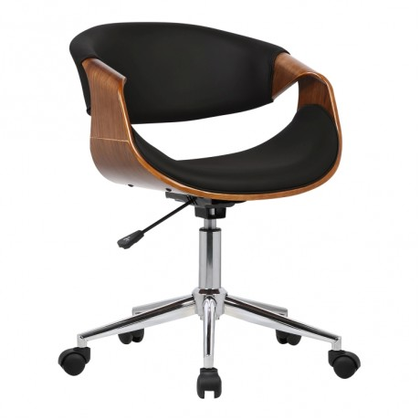 Armen Living Geneva Mid-Century Office Chair in Chrome finish with Black Faux Leather and Walnut Veneer Arms