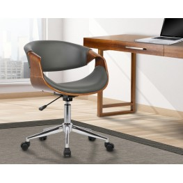 Geneva Mid-Century Office Chair in Chrome finish with Gray Faux Leather and Walnut Veneer Arms