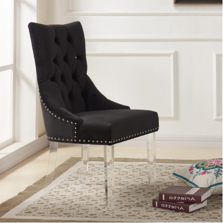 Armen Living Gobi Modern and Contemporary Tufted Dining Chair in Black Velvet with Acrylic Legs