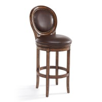"""Armen Living Greece 26"""" Counter Height Swivel Wood Barstool in Chestnut Finish and Kahlua Pu"""