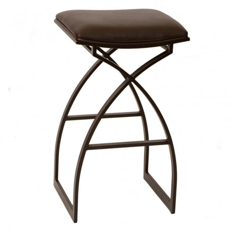 "Harper 26"" Modern Barstool In Coffee and Auburn Bay Metal"