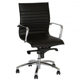 Hannah Contemporary Office Chair In Black and Chrome