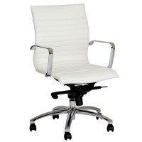 Hannah Contemporary Office Chair In White and Chrome