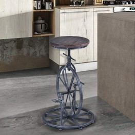 Armen Living Harlem Adjustable Stool in Silver Brushed Steel finish with Ash Pine Wood seat