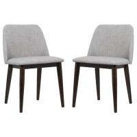 Armen Living Horizon Contemporary Dining Chair in Light Gray Fabric with Brown Wood Legs - Set of 2