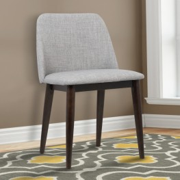 Horizon Contemporary Dining Chair in Light Gray Fabric with Brown Wood Legs - Set of 2
