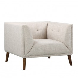 Armen Living Hudson Mid-Century Button-Tufted Chair in Beige Linen and Walnut Legs