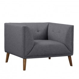 Armen Living Hudson Mid-Century Button-Tufted Chair in Dark Gray Linen and Walnut Legs