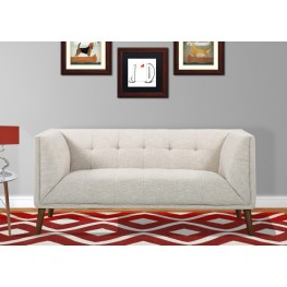 Armen Living Hudson Mid-Century Button-Tufted Loveseat in Beige Linen and Walnut Legs