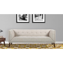 Armen Living Hudson Mid-Century Button-Tufted Sofa in Beige Linen and Walnut Legs