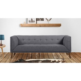 Armen Living Hudson Mid-Century Button-Tufted Sofa in Dark Gray Linen and Walnut Legs