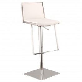 Ibiza Adjustable Brushed Stainless Steel Barstool in White Pu