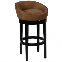 "Igloo Brown Microfiber 30"" Swivel Barstool with Ebony Finished Legs"