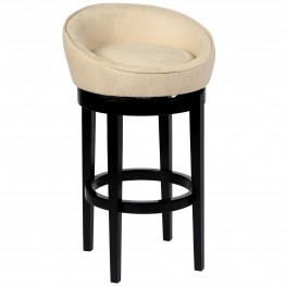 "Igloo Crème Microfiber 26"" Swivel Barstool with Ebony Finished Legs"