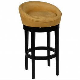 "Igloo Yellow Microfiber 26"" Swivel Barstool with Ebony Finished Legs"