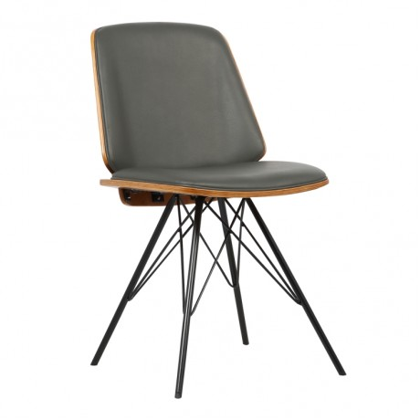 Armen Living Inez Mid-Century Dining Chair in Gray Faux Leather with Black Powder Coated Metal Legs and Walnut Veneer Back